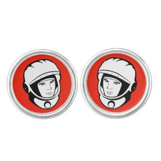 Red Cosmonaut Groom Cufflinks