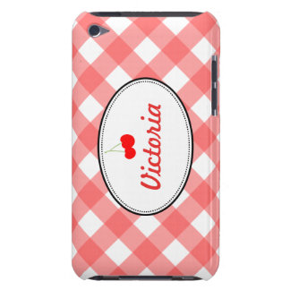 Red country gingham pattern sweet cherry custom barely there iPod covers