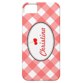 Red country gingham pattern sweet cherry custom iPhone 5 covers