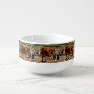 Red Cow in Bricks Bowl Soup Mug