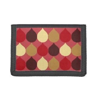 Red Cream Geometric Ikat Teardrop Circles Pattern Tri-fold Wallet