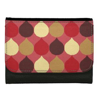 Red Cream Geometric Ikat Teardrop Circles Pattern Wallet