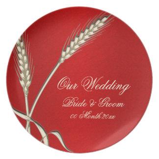 Red cream wedding wheat dinnerware plate