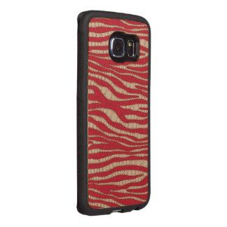 Red Cream Zebra Abstract Wood Phone Case