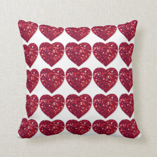 Red Crystal Hearts Ruby Wedding Anniversary Pillow