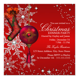 "Red Crystal Snowflake Christmas Dinner Party 3 5.25"" Square Invitation Card"