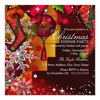 "Red Crystal Snowflake Christmas Dinner Party 4 5.25"" Square Invitation Card"