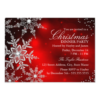 Red Crystal Snowflake Christmas Dinner Party Custom Invites