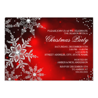 Red Crystal Snowflake Christmas Dinner Party Custom Invites