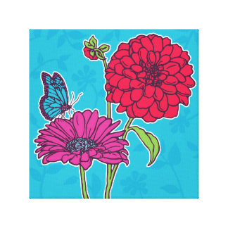 Red dahlia and pink daisy with butterfly on blue canvas prints