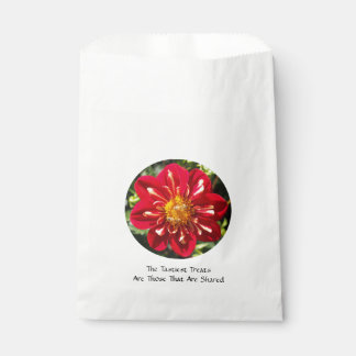 Red Dahlia with Bee Pair - White Favor Bag Favour Bags