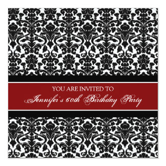 Red Damask 60th Birthday Party Invitations