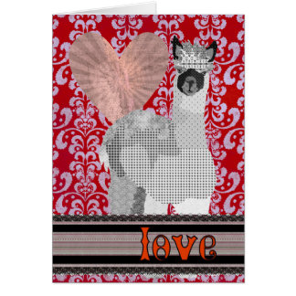 Red Damask Alpaca Love  Valentine Greeting Card