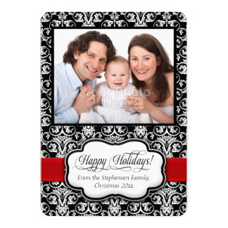Red Damask Black White Holiday Photo Greeting 13 Cm X 18 Cm Invitation Card