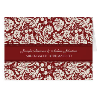 Red Damask Engagement Announcement Card