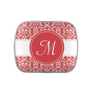 Red Damask Monogram Mint Candy Tins