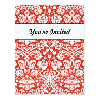 "Red damask pattern 4.25"" x 5.5"" invitation card"