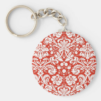 Red damask pattern keychain