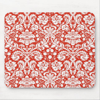 Red damask pattern mouse pad