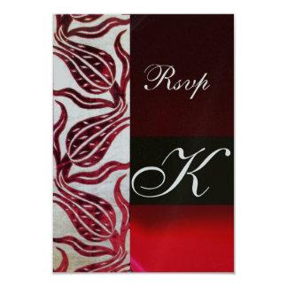 RED DAMASK VELVET TULIPS MONOGRAM Burgundy Silver 9 Cm X 13 Cm Invitation Card