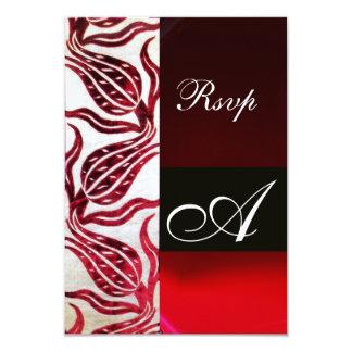 RED DAMASK VELVET TULIPS MONOGRAM Burgundy White 9 Cm X 13 Cm Invitation Card