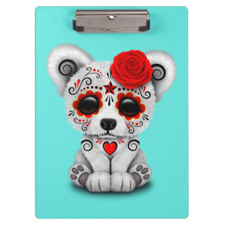 Red Day of the Dead Baby Polar Bear Clipboards