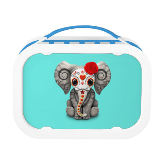 Red Day of the Dead Elephant Lunch Box