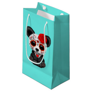 Red Day of the Dead Panda Cub Small Gift Bag