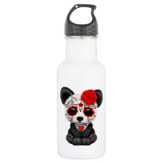 Red Day of the Dead Sugar Skull Panda Bear 532 Ml Water Bottle