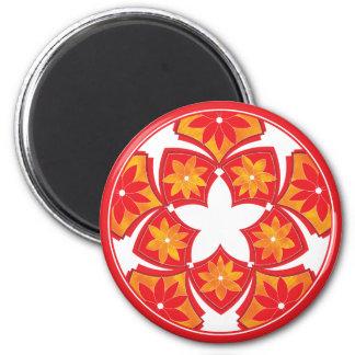 Red Decorative Floral Tiles Magnet