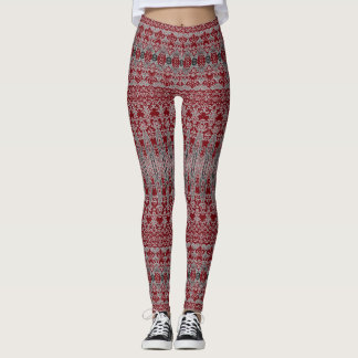 Red Decorative Pattern Leggings