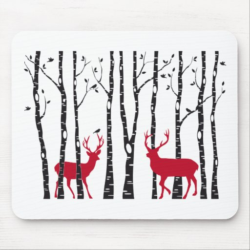 Red deers in birch tree forest mouse pad