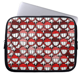 Red Devil Smiley Faces Funny Humor Laugh Cartoon Laptop Sleeve