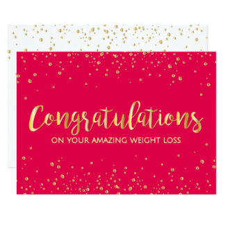 Red Diet Slimming Club Weight Loss Congratulations 13 Cm X 18 Cm Invitation Card