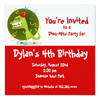 "Red Dinosaur Birthday Party Invitations 5.25"" Square Invitation Card"