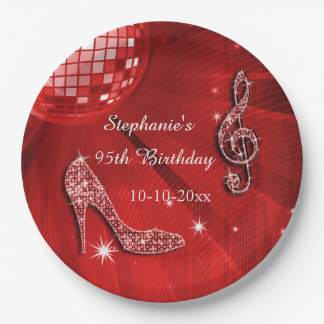 Red Disco Ball and Heels 95th Birthday 9 Inch Paper Plate