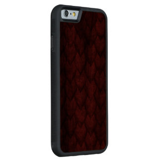 Red Dragon Scales Carved Walnut iPhone 6 Bumper Case