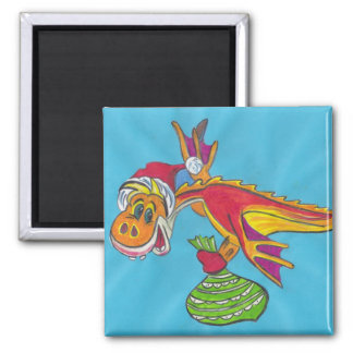 Red dragon square magnet