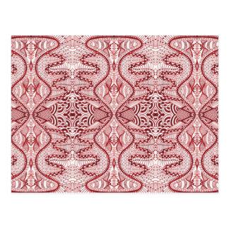 Red Dream Vintage Fabric Postcard