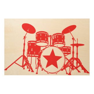 Red Drums Wood Wall Art