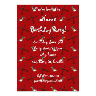 red duck hunting pattern 13 cm x 18 cm invitation card