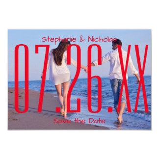 Red Empire Date & Photo-3x5Wedding Save the Date Card