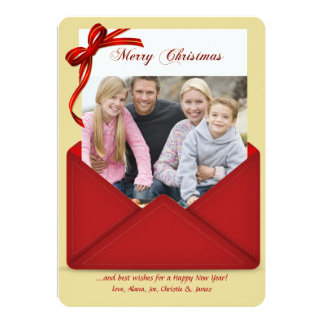 Red Envelope Holiday Photo Card Personalized Invites