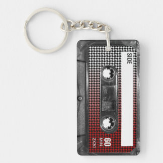 Red Fade Houndstooth Label Cassette Key Ring
