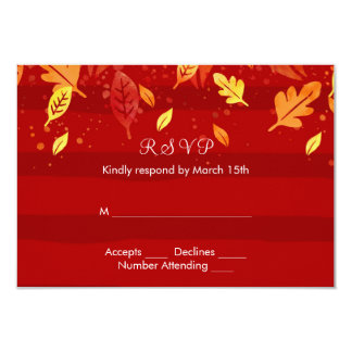 Red Fall Autumn Leaves Card