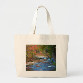 Red Fall Stream Large Tote Bag