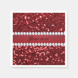 Red Faux Glitter and Diamonds Disposable Napkins