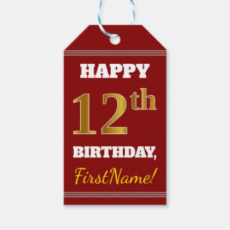 Red, Faux Gold 12th Birthday + Custom Name Gift Tags