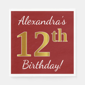Red, Faux Gold 12th Birthday + Custom Name Paper Napkin