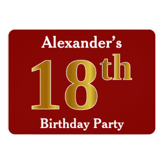 Red, Faux Gold 18th Birthday Party + Custom Name Card